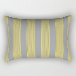 Hand-painted Stripes in Illuminating Yellow and Ultimate Grey Colors, Paint and Canvas Texture, 2021 Color Trend  Rectangular Pillow