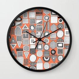 frisson memphis bw orange Wall Clock