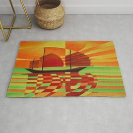 Junk on Sea of Green Cubist Abstract  Rug