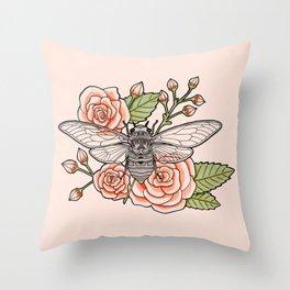 Cicada with Roses - Pink Throw Pillow