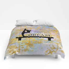 Don't Dream Your Life Live Your Dream in Golden Flakes-Gymnastics Design Comforters
