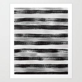 Black White and Grey Monochrome Pastel Stripes Abstract Pattern Art Print