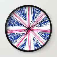 uk Wall Clocks featuring UK by R.Bongiovani