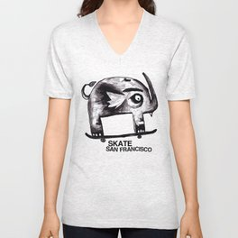 Snaggle Toothed Elephant Rides Skateboard - SF Muni Tickets Unisex V-Neck