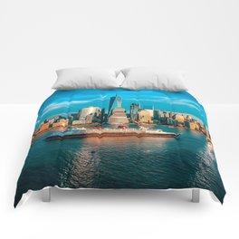 New York City Skyline Passing Cruise Ship Comforters