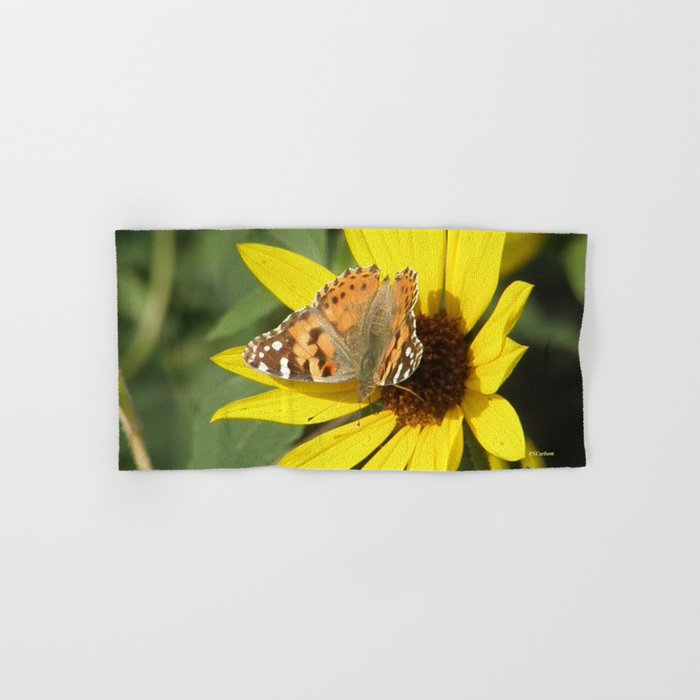 Painted Lady Butterfly Picks Pollen Hand & Bath Towel