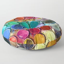 watercolor palette Digital painting Floor Pillow