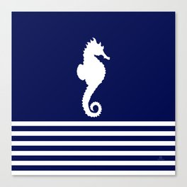 AFE Navy & White Seahorse Canvas Print