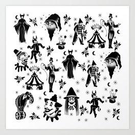 Vintage Halloween Circus Art Print