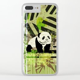 Panda Cub  Abstract vintage pop art composition Clear iPhone Case
