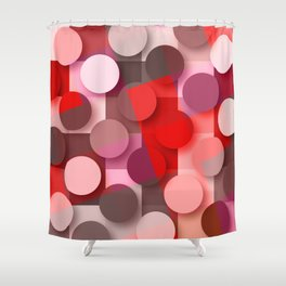 dots & squares red Shower Curtain