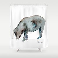 guinea pig Shower Curtains featuring Pig by Elena Sandovici