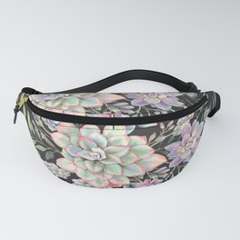 Watercolor Succulent #8-Black Fanny Pack