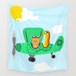 A decorated airplane with a cat and a giraffe Wall Tapestry