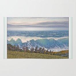 BIG WAVE OCEAN IN MOTION SEASCAPE VINTAGE OIL PAINTING Rug