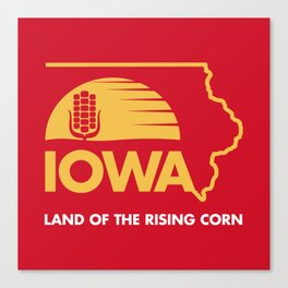 Iowa: Land of the Rising Corn - Red and Gold Edition Canvas Print