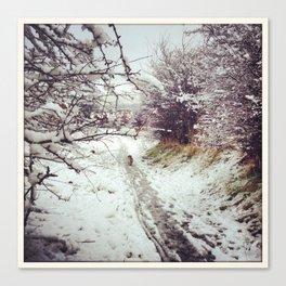 Snowy Dog Walk Canvas Print