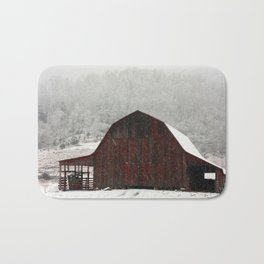 Snowy Red Barn Bath Mat