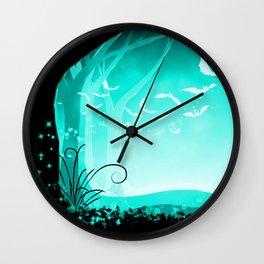 Dark Forest at Dawn in Aqua Wall Clock