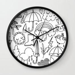 Hand drawn black white animal doodle winter pattern Wall Clock