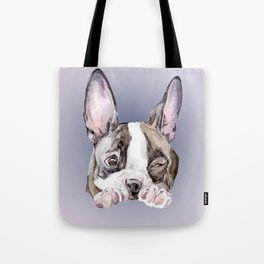 Boston Terrier Dog Watercolor Painting Tote Bag
