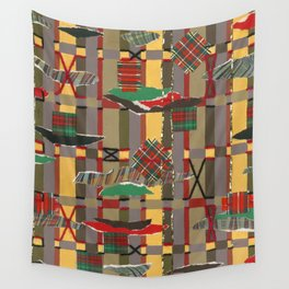 Pierced, Torn & Stitched Tartan Plaid by Nettwork2Design - Nettie Heron-Middleton Wall Tapestry