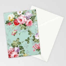 Elegant chic pink green roses flowers pattern Stationery Cards