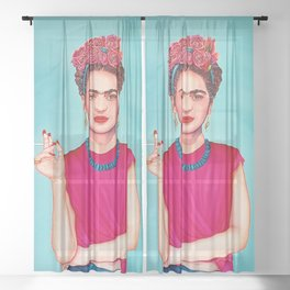 Frida wearing band of flowers Sheer Curtain