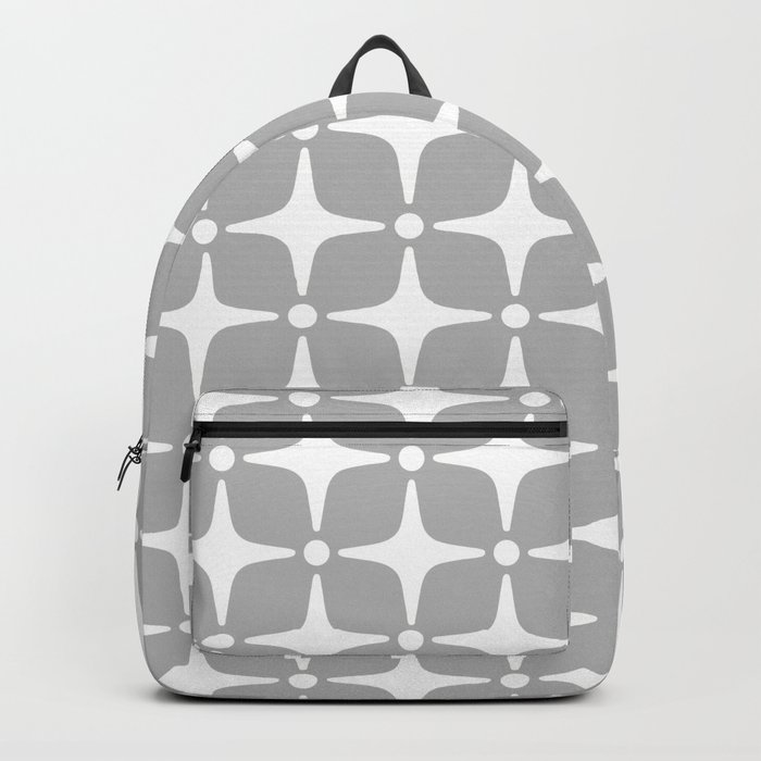 Mid Century Modern Star Pattern Gray 2 Backpack