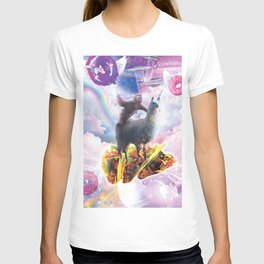 Space Sloth Riding Llama Unicorn - Taco & Donut T-shirt
