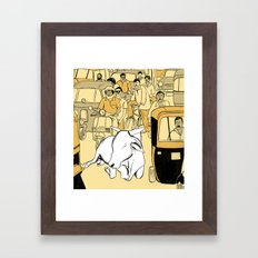 Cow in the Streets Framed Art Print