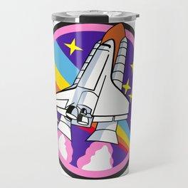 pink rainbow rocket Travel Mug