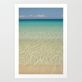 Crystal clear turquoise shaded waters of a sandy beach Art Print