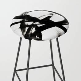 Brushstroke 4 - a simple black and white ink design Bar Stool
