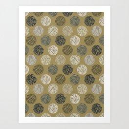 Camo Texture Polka Dots Seamless Hand Drawn Outdoor Art Print