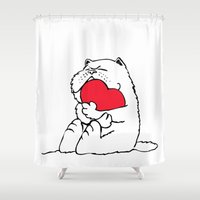 persian Shower Curtains featuring Persian Cat Heart by Huebucket