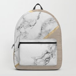 Modern white marble gold stripe wood color block Backpack