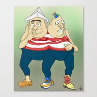 dumb and dumber Canvas Prints featuring tweedle dumb & tweedle dumber. by snak3oil.