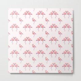 Flamingo Pattern Watercolor Pink Flamingos Metal Print