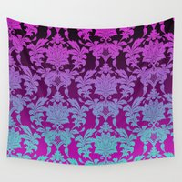 damask Wall Tapestries featuring Ombre Damask by Aimee St Hill