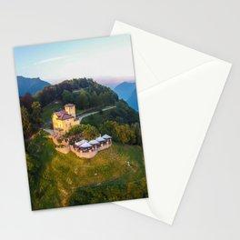 Mount Bre, Lugano, Switzerland Alpine Mountaintop Resort Restaurant lakeside photograph Stationery Cards