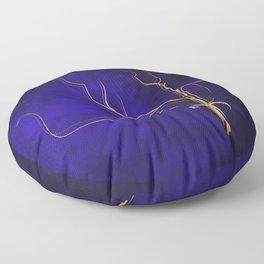 Kintsugi Gold Royal Blue Watercolor Floor Pillow