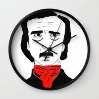poe Wall Clocks featuring Poe by Natália Damião