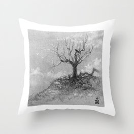 Tree on a hill - charcoal Throw Pillow