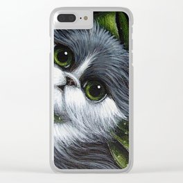 TUXEDO PERSIAN CAT with GREEN EYES & BOW...YOUR GIFT Clear iPhone Case