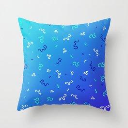 Neo-Memphis Style Aqua Pattern Throw Pillow