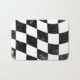 Grunged Chequered Flag Bath Mat