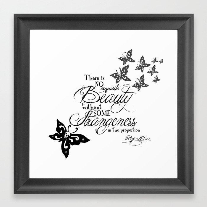 'Strange Skullerflies' -  Quotes - Edgar Allan Poe Framed Art Print