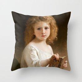 "William-Adolphe Bouguereau ""The Story Book"" Throw Pillow"
