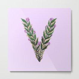 Leafy Letter V Metal Print
